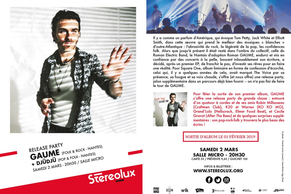 Gaume, flyer release-party 02 mars 2019 à Stéréolux